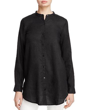 6a961d26 Eileen Fisher Petites Organic Linen Mandarin Collar Shirt ...