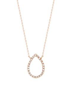 """Dana Rebecca Designs - 14K Rose Gold Teardrop Cutout Pendant Necklace with Diamonds, 18"""""""