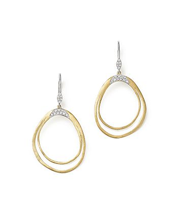 Meira T - 14K White and Yellow Gold Open Pear Dangle Earrings with Diamonds