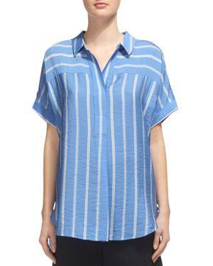 Whistles Ellen Striped Short-Sleeve Shirt