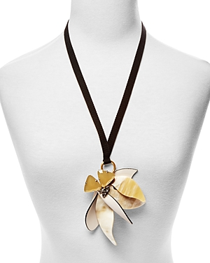 Marni Leather and Horn Flower Pendant Necklace, 28