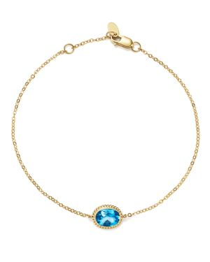 Blue Topaz Oval Bracelet in 14K Yellow Gold - 100% Exclusive