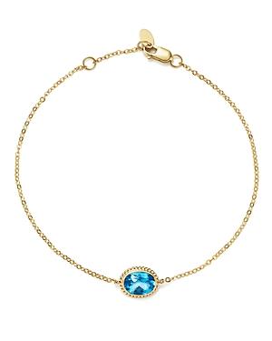 Blue Topaz Oval Bracelet in 14K Yellow Gold
