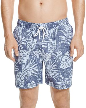 Brooks Brothers Tropical Leaf Print Swim Trunks