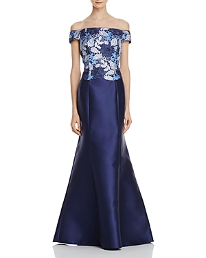 Adrianna Papell Off-the-Shoulder Lace Bodice Gown
