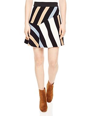 Sandro Killim Striped Mini Skirt