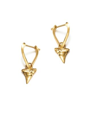 X ANDREA LINETT 14K YELLOW GOLD SMALL TRIANGLE HOOP EARRINGS WITH SHARK TOOTH CHARMS - 100% EXCLUSIV