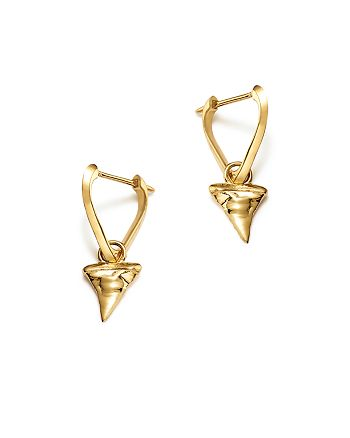 ICONERY - x Andrea Linett 14K Yellow Gold Small Triangle Hoop Earrings with Shark Tooth Charms - 100% Exclusive