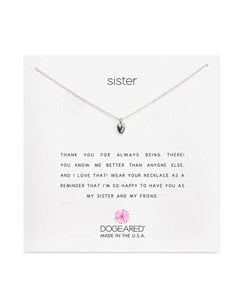 """Dogeared - Sister Heart Necklace, 18"""""""