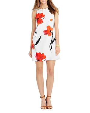 Lauren Ralph Lauren Petites Sleeveless Painted Flowers A-Line Dress