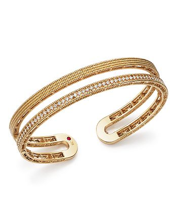 Roberto Coin - 18K Yellow Gold Symphony Pavé Diamond Double Cuff
