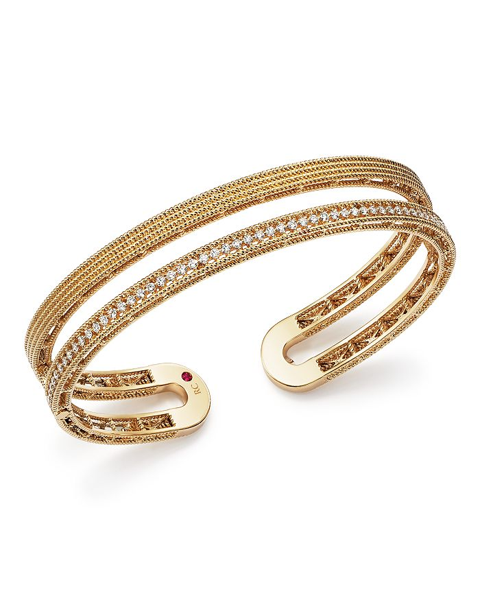 Roberto Coin - 18K Yellow Gold Symphony Pavé Diamond Double Cuff