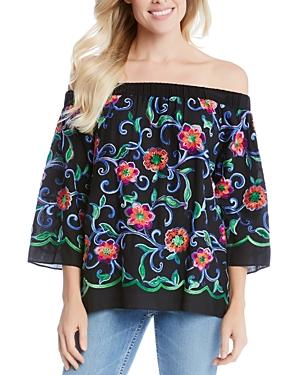 Karen Kane Embroidered Off-The-Shoulder Top