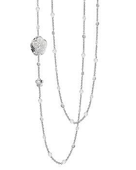 "Pasquale Bruni - 18K White Gold Floral Pavé Diamond Charm Necklace, 39.5"""