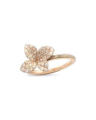 18K ROSE GOLD SECRET GARDEN FOUR PETAL FLOWER PAVE DIAMOND RING