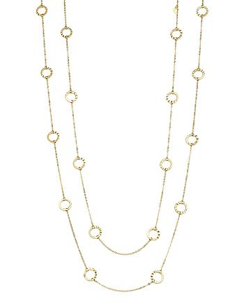 """Bloomingdale's - 14K Yellow Gold Textured Circle Station Necklace, 52"""" - 100% Exclusive"""