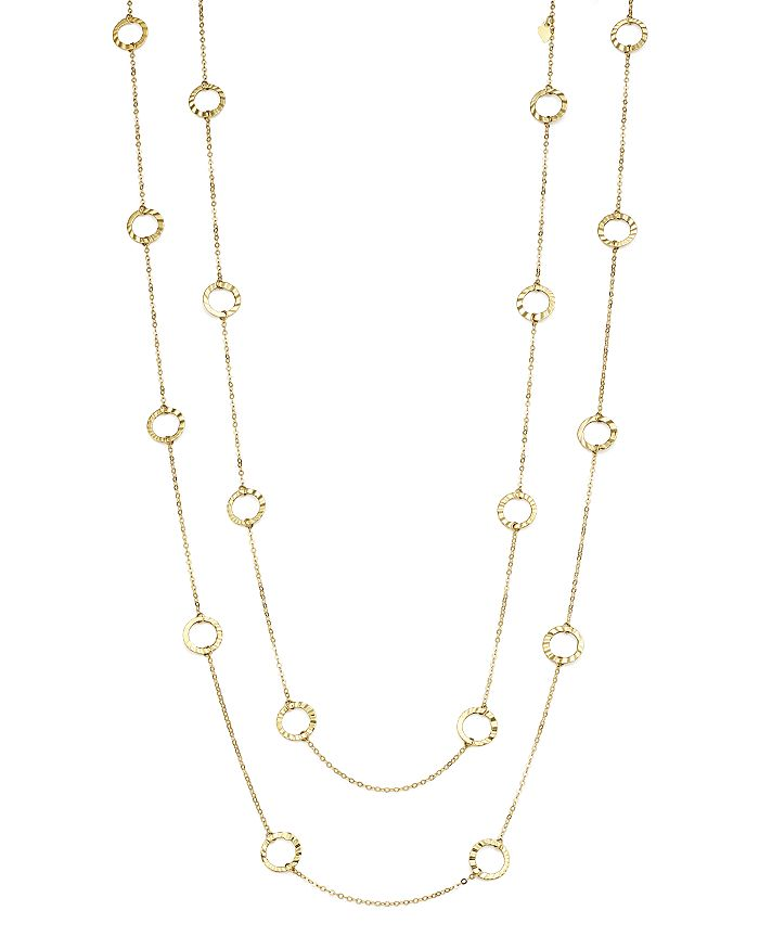 "Bloomingdale's - 14K Yellow Gold Textured Circle Station Necklace, 52"" - 100% Exclusive"