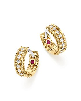 Roberto Coin - 18K White and Yellow Gold Symphony Princess Diamond Hoop Earrings