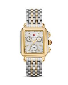 MICHELE - Deco Day Two-Tone Diamond Dial Watch Head, 33 x 35mm