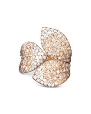 Pasquale Bruni 18K Rose Gold Secret Garden Three Petal Pave Diamond Ring
