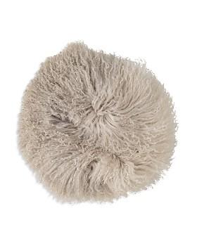 "Bloomingville - Stone/Off White Tibetan Lamb Fur Pillow, 14"""