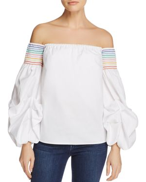 Petersyn Audrey Smocked Off-the-Shoulder Top