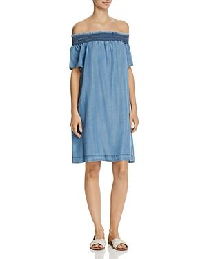 Aqua Chambray Off-the Shoulder Dress - 100% Exclusive