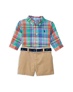 Ralph Lauren Childrenswear Boys Plaid Shirt  Chino Shorts Set  Baby