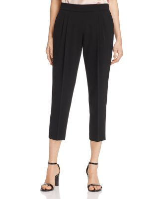 DYLAN GRAY PLEATED CREPE CROP PANTS - 100% EXCLUSIVE