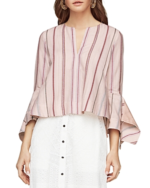 Bcbgmaxazria Teri Trumpet-Sleeve Striped Top