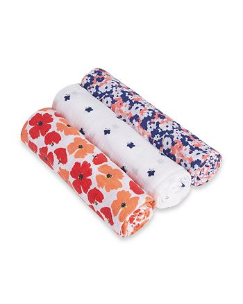 Aden and Anais - Infant Girls' Flora Swaddles, 3 Pack - Baby