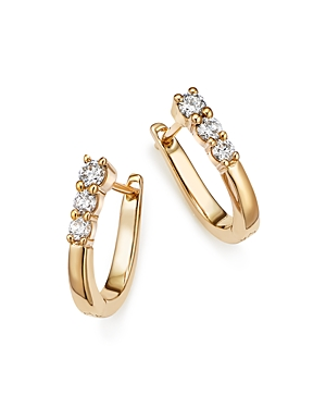 Diamond Three Stone Small Hoop Earrings in 14K Yellow Gold, .30 ct. t.w. - 100% Exclusive