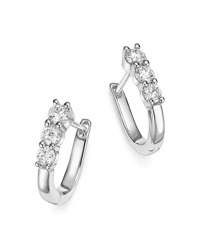 Bloomingdale's - Diamond Three Stone Small Hoop Earrings in 14K White Gold, .60 ct. t.w. - 100% Exclusive
