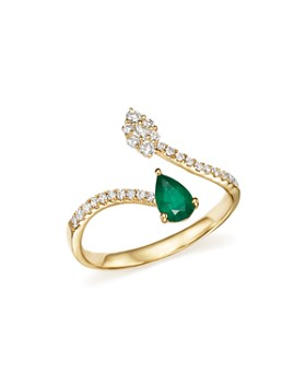 Bloomingdale's - Emerald and Diamond Open Ring in 14K Yellow Gold - 100% Exclusive