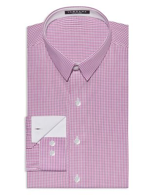 VARDAMA Bethesda Small Check Stain Resistant Regular Fit Dress Shirt in Pink