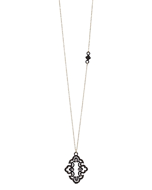 Armenta 18K Yellow Gold and Blackened Sterling Silver Old World Scroll Champagne Diamond and White Sapphire Cravelli Pendant Necklace, 18