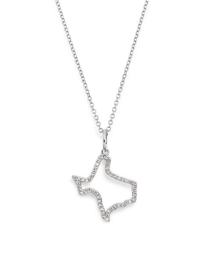 "KC Designs - Diamond Mini Texas State Necklace in 14K White Gold, 16"""