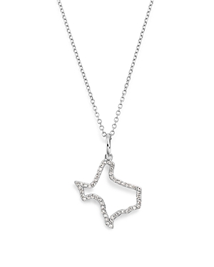Kc Designs 14K White Gold Diamond Mini Texas State Necklace, 16