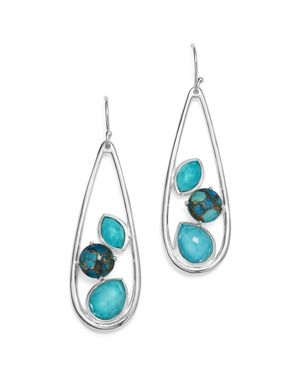Ippolita Sterling Silver Rock Candy Mixed Turquoise and Doublet Long Earrings