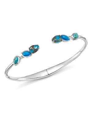 Ippolita Sterling Silver Rock Candy Mixed Turquoise and Amazonite Doublet Hinged Bangle