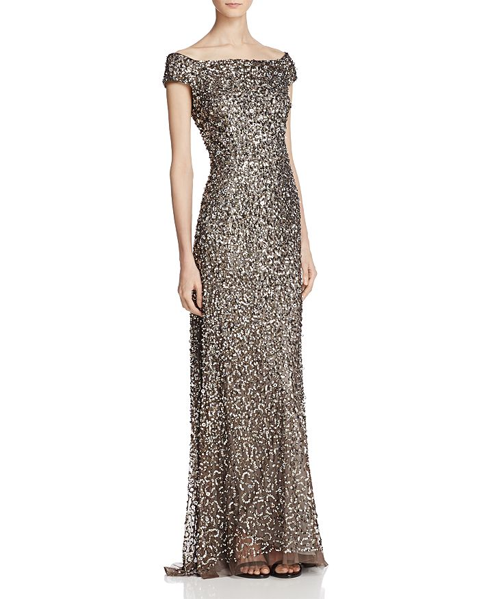 Adrianna Papell Off The Shoulder Sequined Gown Bloomingdale S