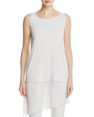 Eileen Fisher Petites Asymmetric Mixed Media Silk Tunic