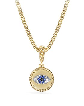 David Yurman - Cable Collectibles Evil Eye Amulet with Diamonds and Blue Sapphires in 18k Gold