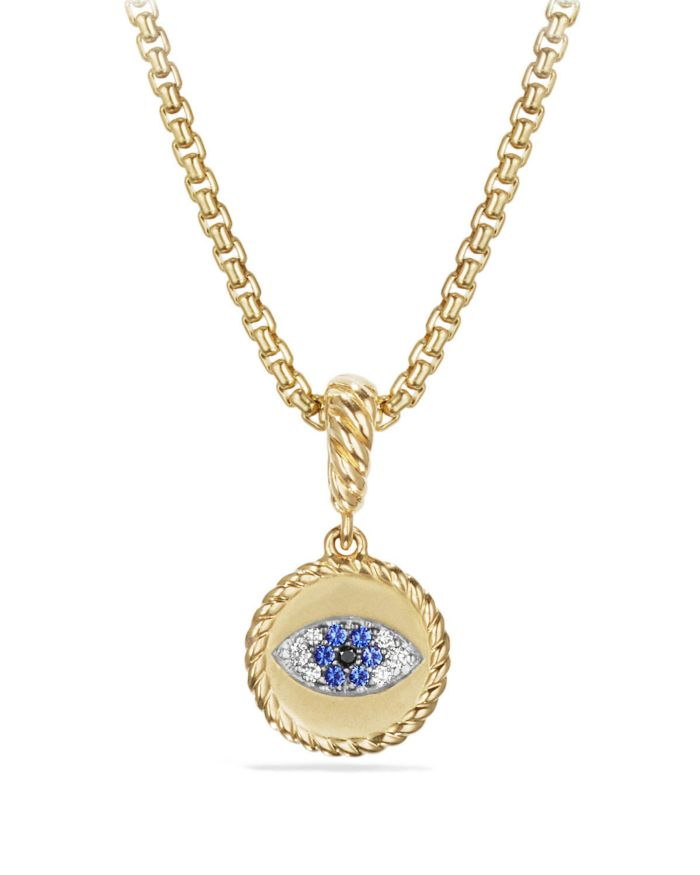 David Yurman Cable Collectibles Evil Eye Amulet with Diamonds and Blue Sapphires in 18k Gold  | Bloomingdale's