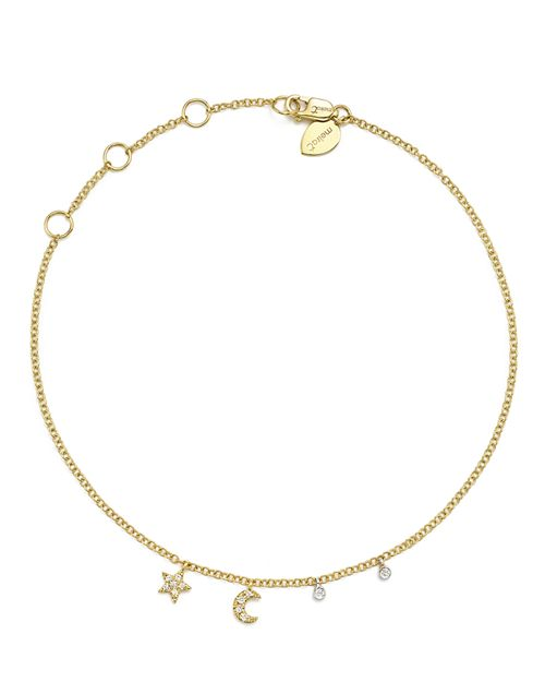 Meira T - 14K White and Yellow Gold Diamond Moon and Star Ankle Bracelet