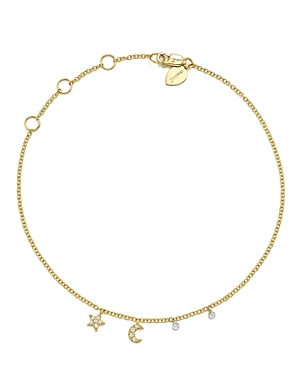 Meira T 14K White and Yellow Gold Diamond Moon and Star Ankle Bracelet