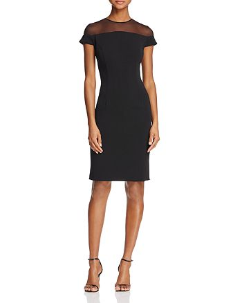 Carmen Marc Valvo - Short-Sleeve Illusion-Neck Dress