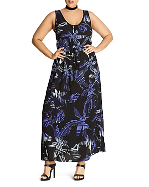 City Chic Summer Party Palm Print Maxi Dress