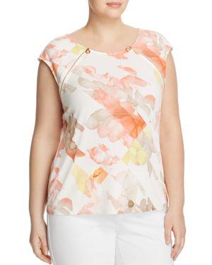Calvin Klein Plus Zip Shoulder Floral Print Top