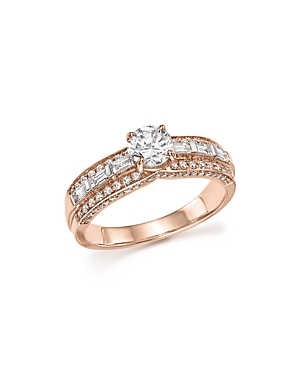 Diamond Round and Baguette Center Ring in 14K Rose Gold, 1.0 ct. t.w. - 100% Exclusive